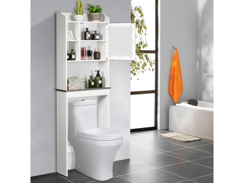 Giantex Meuble Dessus Toilette Etagere De Salle De Bains Avec Portes En Bois Armoir De Toilette Avec Etagere De Rangement Polyvalent Blanc Vente De Armoire Colonne Etagere Conforama