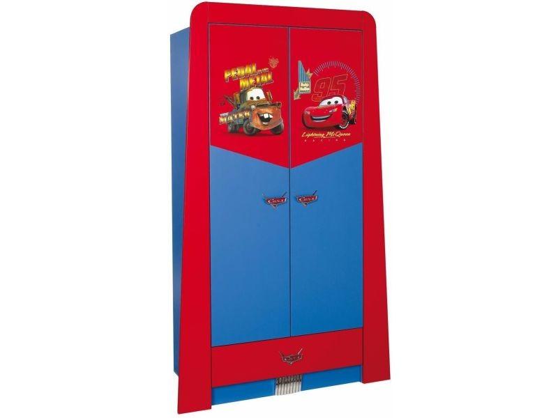armoire enfant a 2 portes 1 tiroir design cars disney coloris rouge et bleu p 17224 co vente de comforium conforama