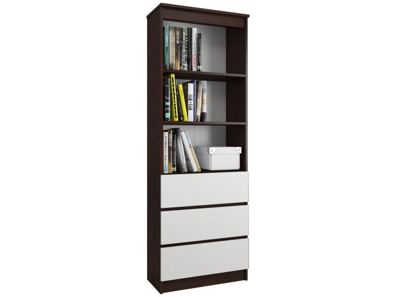 carlo meuble de rangement multi fonctionnel salon sejour bureau chambre 180x60x35cm bibliotheque design moderne wenge blanc