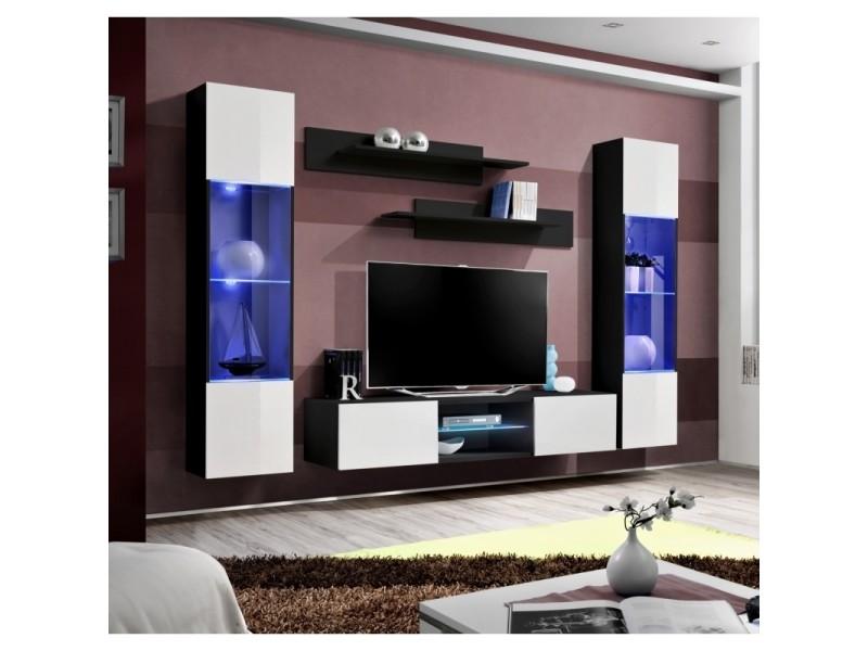 ensemble meuble tv mural fly o3 260 x 40 x 190 cm blanc et noir