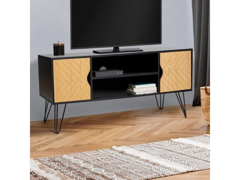 meuble tv vintage leoni motifs graphiques