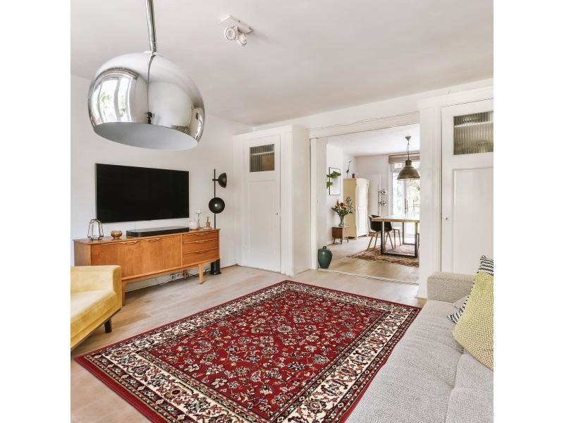 tapis style oriental 140x200 cm rectangulaire bc sans medaillon rouge salon adapte au chauffage par le sol