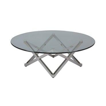table basse ronde inox verre bright