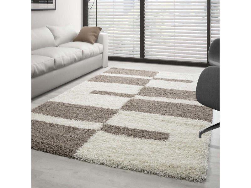 roma tapis shaggy a motifs traits beige et ivoire 200 x 290 cm