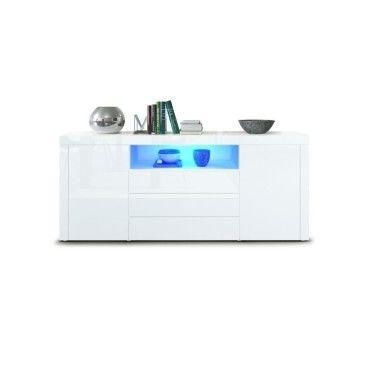 buffet laque blanc avec eclairage led 167 cm v99126803