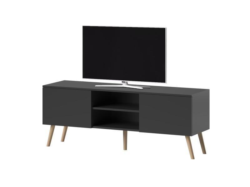 meuble tv meuble salon verozia lignnum 140 cm noir mat style scandinave pieds de hetre huile