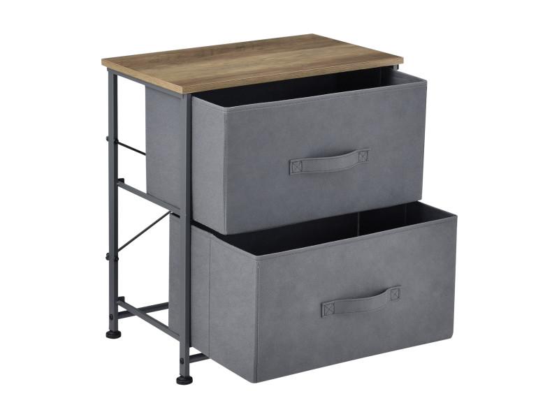 pro tec commode meuble de rangement armoire structure en metal et mdf 2 tiroirs en vliseline 50 x 45 x 30 cm gris et bois