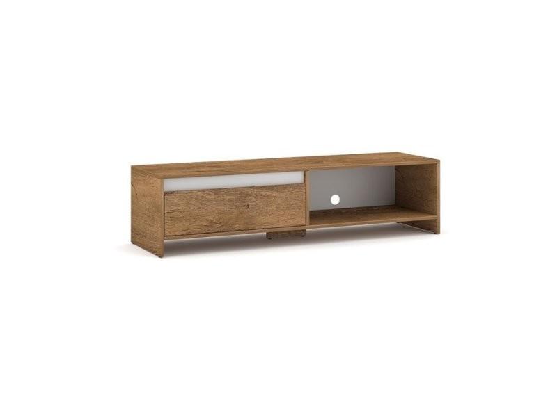 lane meuble tv style contemporain salon sejour 140x35x40 cm meuble de television avec niches de rangement aspect bois chene blanc