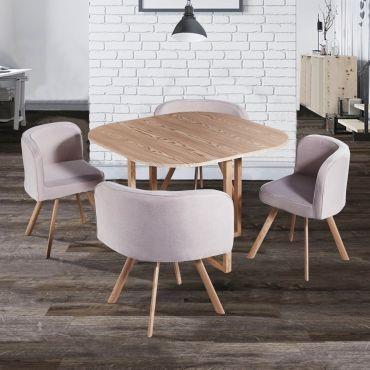 ensemble table 4 chaises encastrables beige flen c10282184