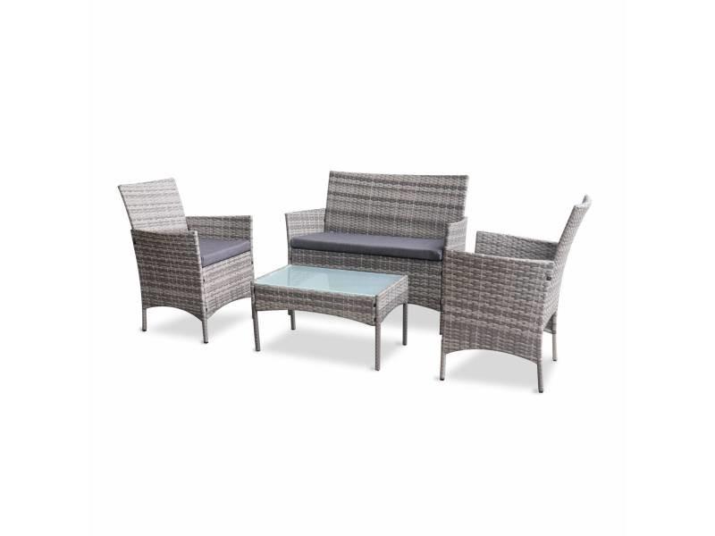 salon de jardin en resine tressee moltes nuances de gris coussins gris 4 places 1 canape 2 fauteuils une table basse