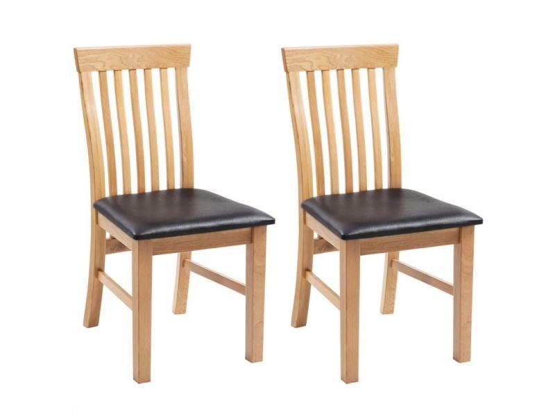 sublime fauteuils gamme sao tome chaises de salle a manger bois de chene 2 pcs cuir artificiel