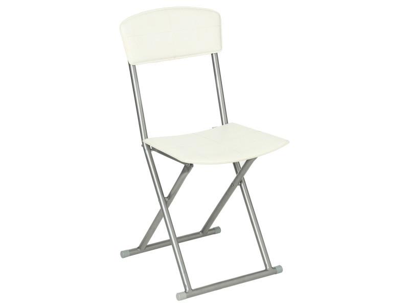 chaise pliante pvc creme