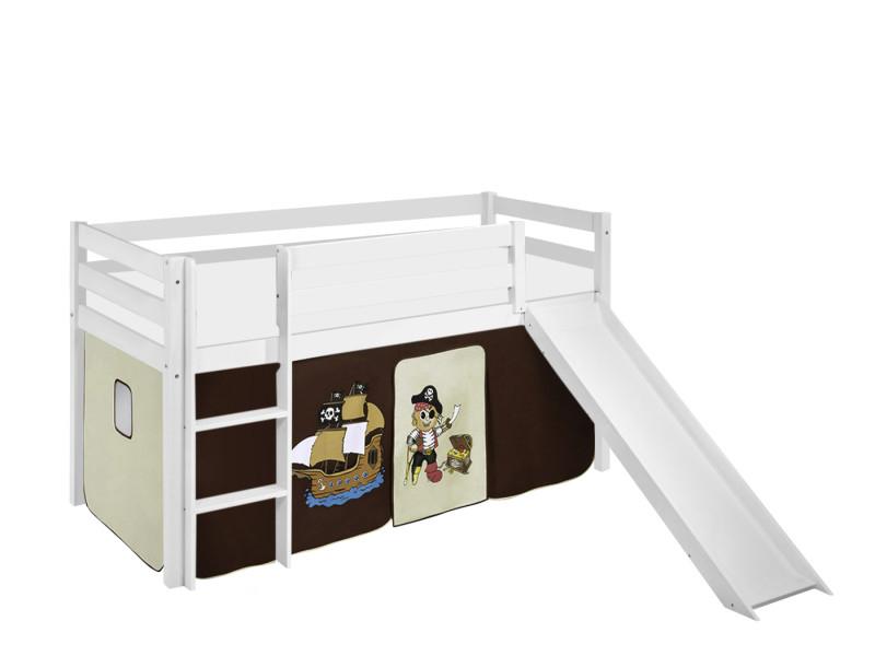 lit sureleve ludique jelle 90x190 cm pirate marron beige lilokids blanc laque avec toboggan et rideaux