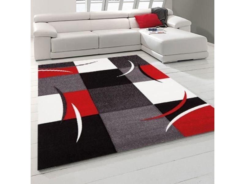 tapis dessous de tapis diamond tapis de salon 80x150 cm rouge gris noir et blanc