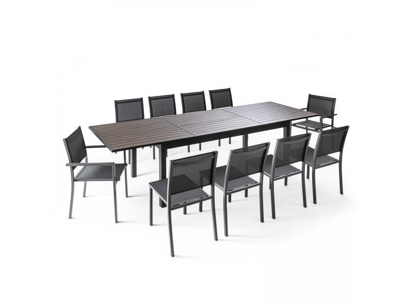 table de jardin extensible 10 places en aluminium et polywood