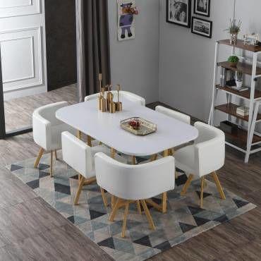 table et chaises oslo xl blanc et