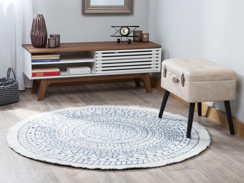 tapis rond bleu et blanc reversible 140 cm yalak