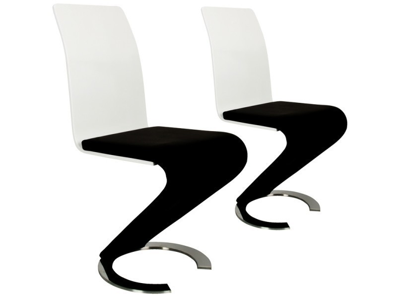 chaise design noir et blanc lot de 2