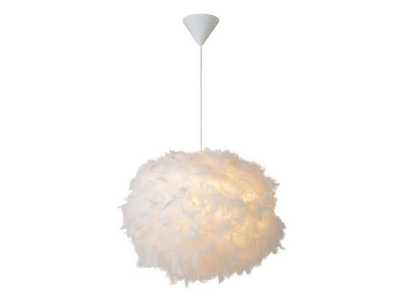 suspension boule avec plumes diametre 50cm blanc goosy soft blanc blanc