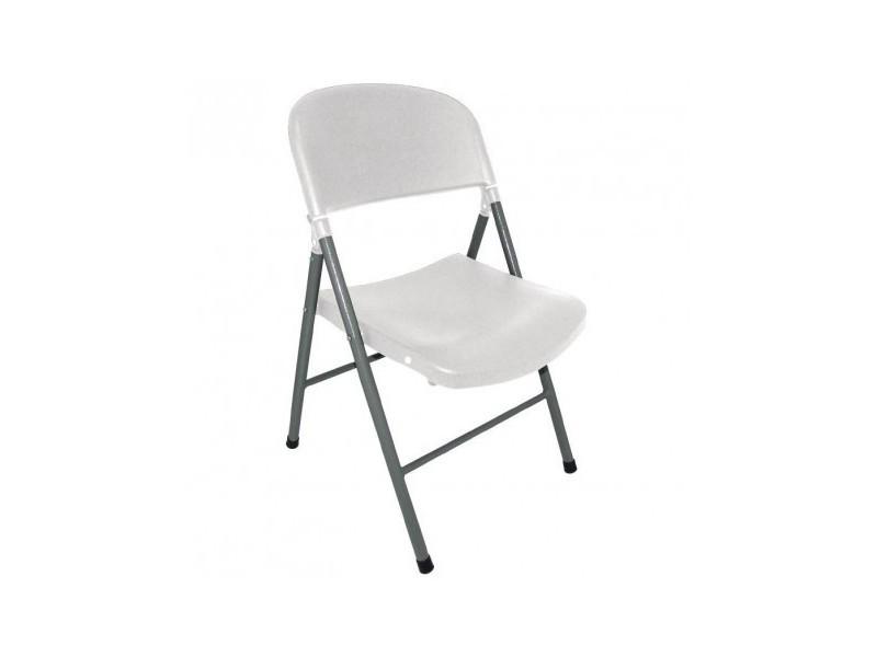 chaises pliantes blanches et grises bolero lot de 2