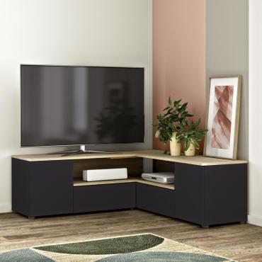 meuble tv angle 130 noir et chene