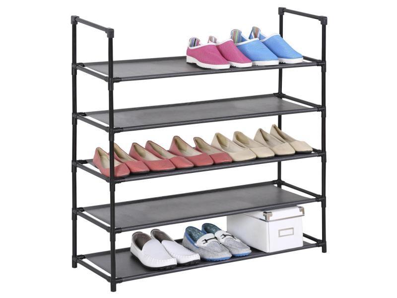 etageres a chaussures willy rangement avec 5 tablettes en tissu et une structure en metal laque noir