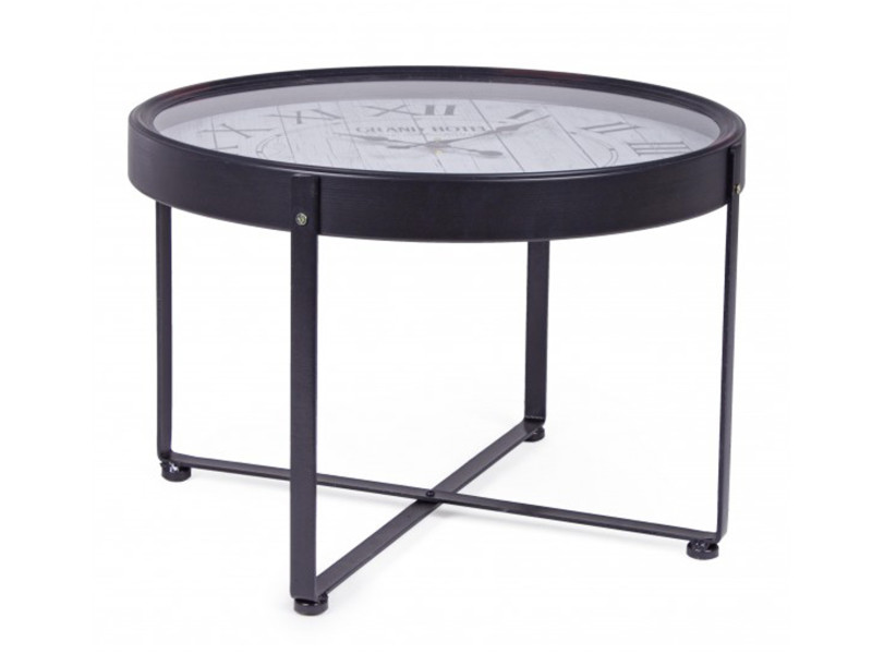 table basse avec horloge en acier et verre o 61 x 41 cm pegane
