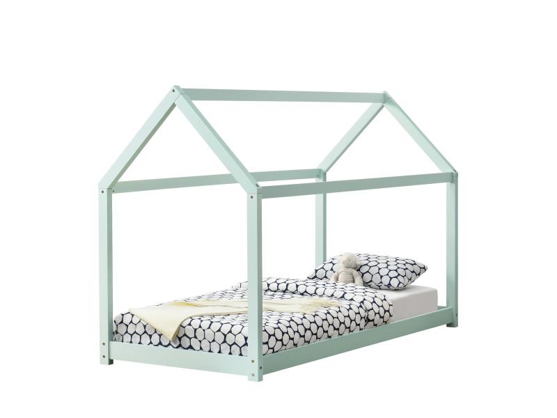 en casa lit enfant design maison cadre structure lit bois blanc cabane 206 x 98 x 142 cm menthe