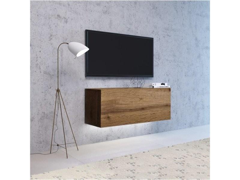 vivio meuble tv a suspendre avec led salon sejour 100x40x38 cm meuble television avec rangements aspect bois chene