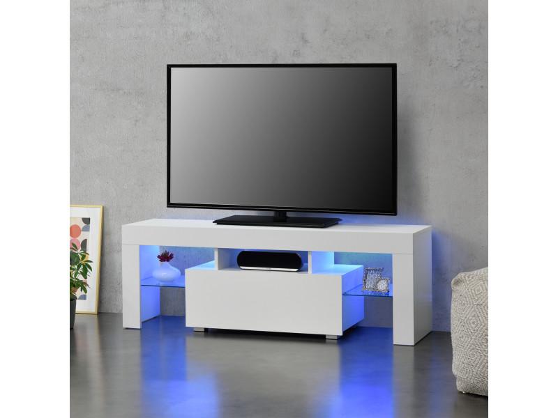 meuble tv avec eclairage led multicolore banc support design avec etageres de verre et tiroir panneaux de particules melamines 130 x 35 x 45 cm blanc