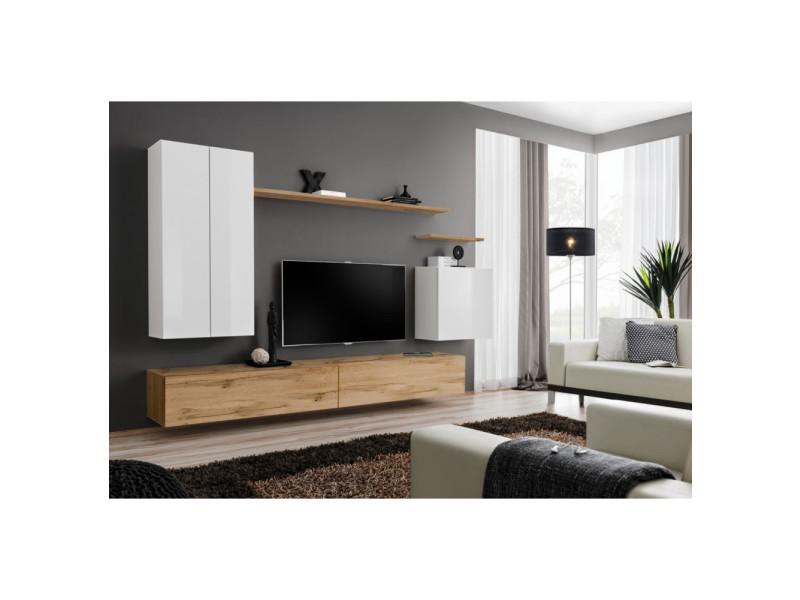 ensemble mural switch xx 1 vitrine led 1 banc tv 1 etagere murale bois et blanc modele 2