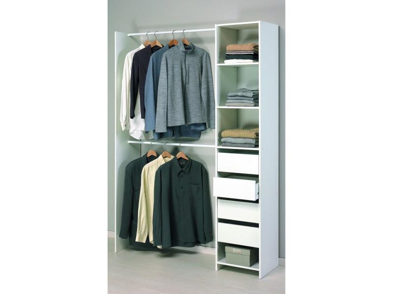 kit placard dressing 4 tiroirs 2 rayons 2 penderies en blanc perle 141 5 x 203 x 39 6 cm pegane vente de dressing conforama