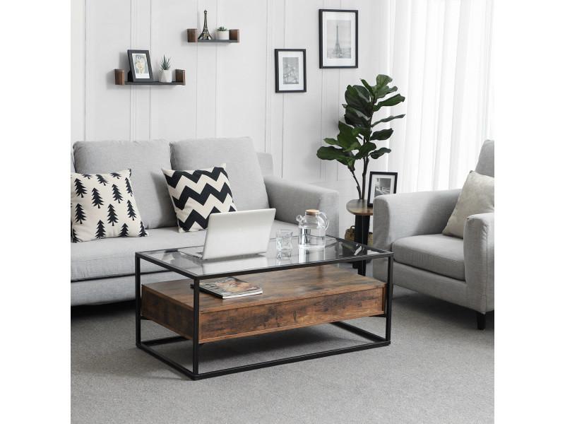 table basse de style industriel plateau en verre trempe 2 tiroirs tablette rustique table de salon decorative lct31bx