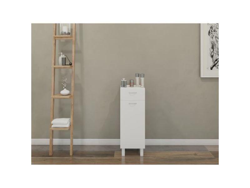 colonne de salle de bain armoire de salle de bain essentiel meuble de rangement 1 porte 1 tiroir blanc l 30 cm