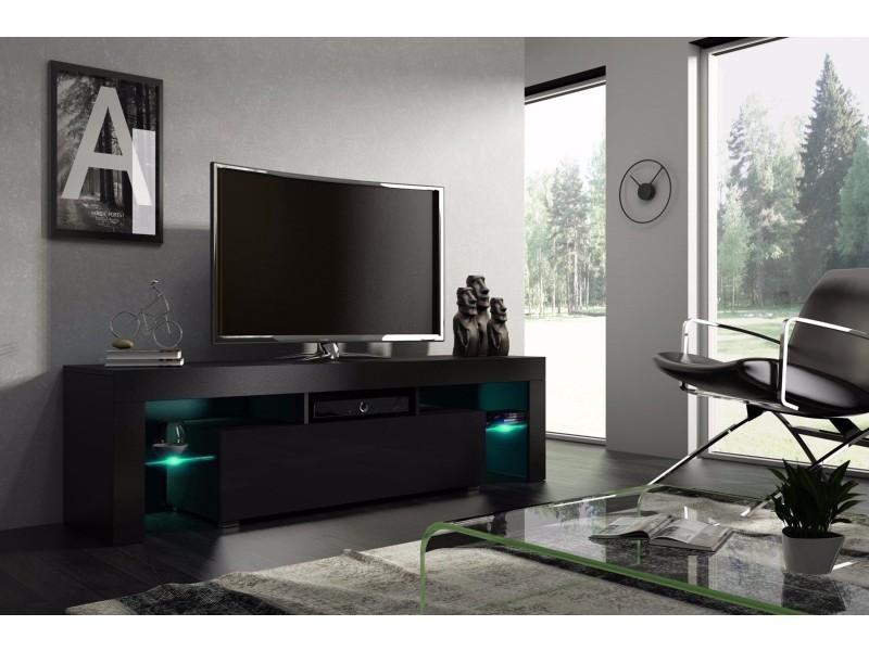 meuble tv 160 cm noir mat et noir laque avec led