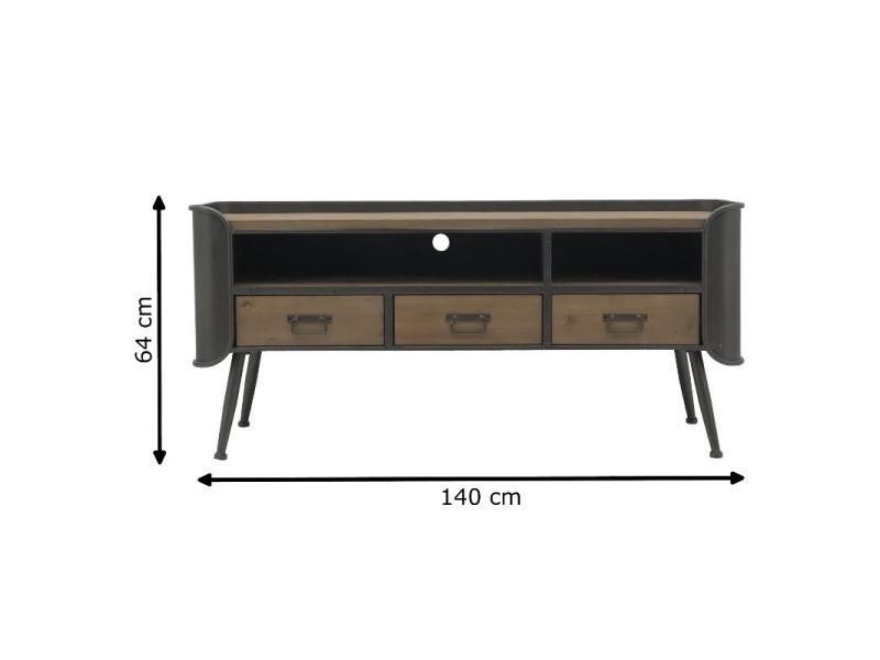 meuble tele tv console a tiroirs industriel fer bois 140 cm x 64 cm