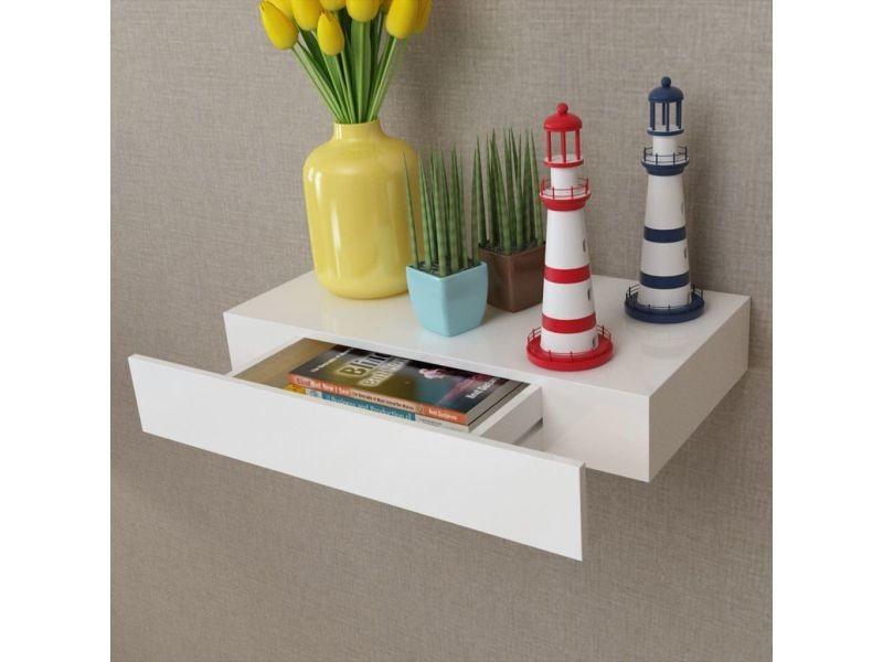 style etageres categorie bridgetown etagere murale en mdf blanc avec 1 tiroir pour dvd livres