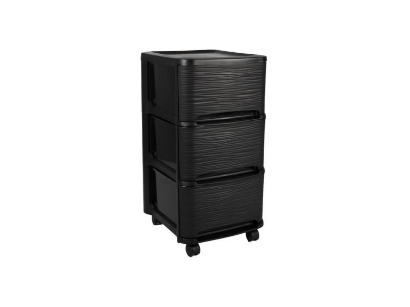 eda plastique tour de rangement 3 tiroirs 14 l decor stone avec roulettes noir 32 x 37 x 61 cm