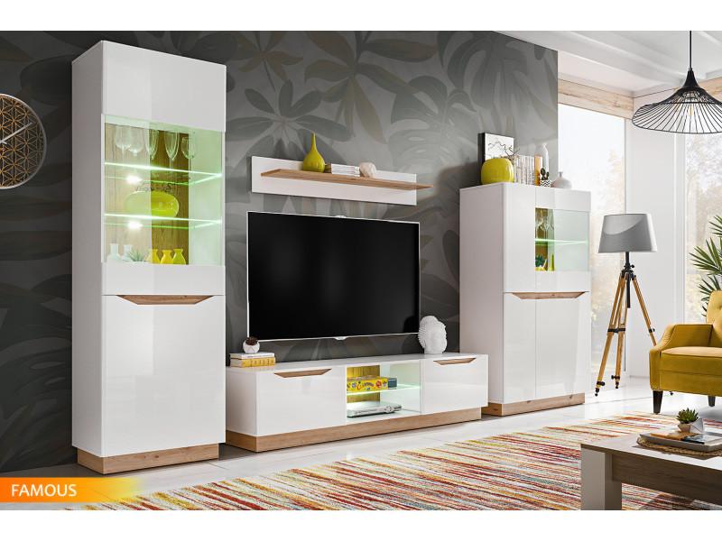 Ensemble Meuble Salon Tv Famous Blanc Bois Mat Blanc Laque Led Vente De Tendance Perso Conforama