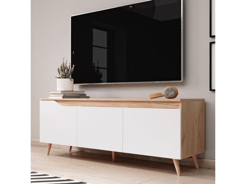 meuble tv alphard 140 cm craft dore blanc mat 3 rangements fermes