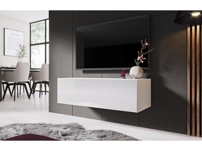furnix meuble tv meuble suspendu design zibo 100 cm blanc avec 2 compartiments fermes