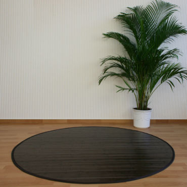 tapis rond en bambou brun fonce 120 cm