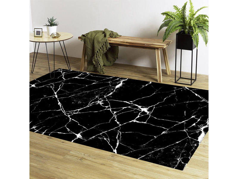 tapis effet marbre noir 80x150 cm