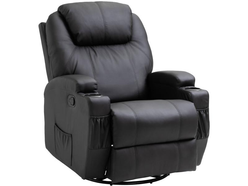 Fauteuil De Massage Relaxation Electrique Chauffant Inclinable Pivotant 360 Avec Repose Pied Ajustable P U Noir Vente De Homcom Conforama