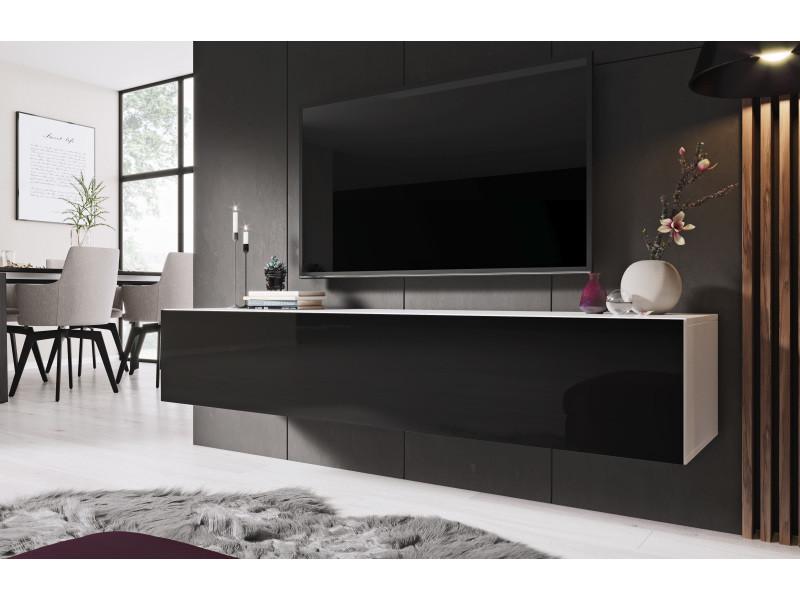furnix meuble tv meuble suspendu design zibo 160 cm blanc noir avec 3 compartiments fermes