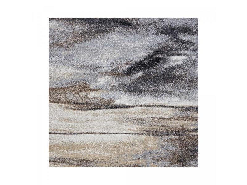 tapis design et moderne 200x200 carre cm carre elegant 01 gris salon adapte au chauffage par le sol