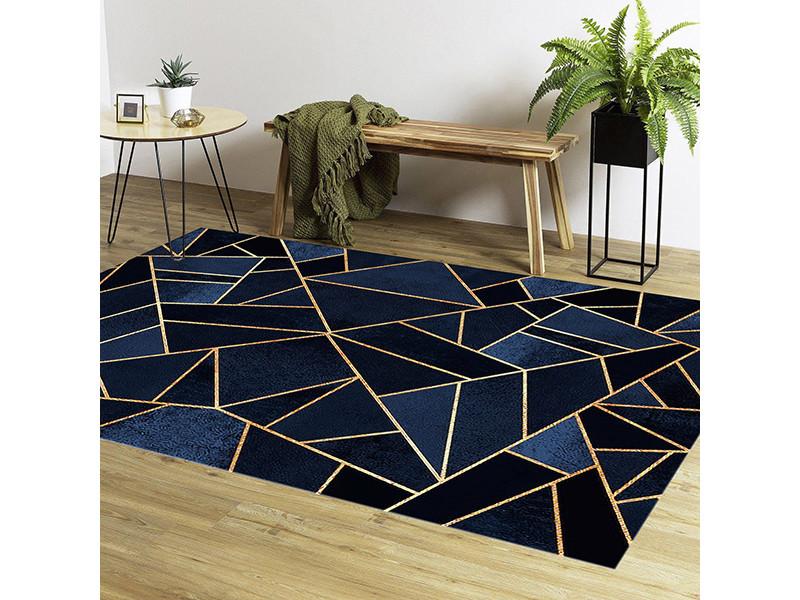 tapis grafic bleu dore 160x230cm