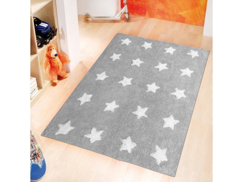 tapis enfant 90x150 cm rectangulaire etoile gris chambre tufte main coton