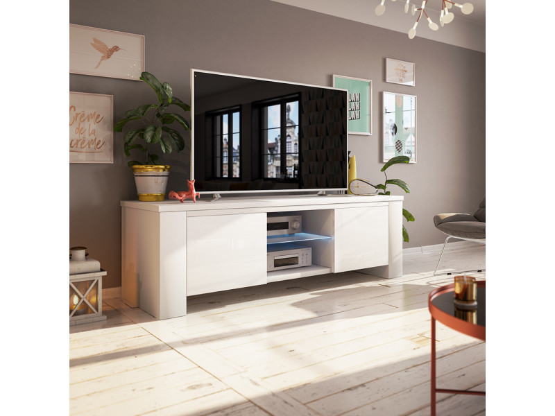 meuble tv jackson 130 cm blanc