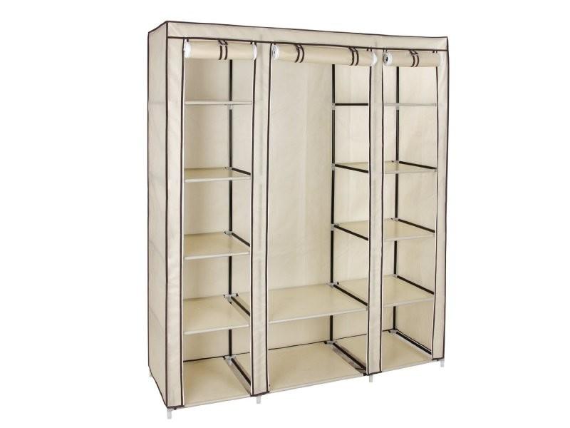 armoires penderie tissu meuble de rangement beige 180 cm helloshop26 2012043 conforama